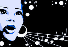 Singer Woman Music Jazz Blues Comics Cartoon Stock Images
