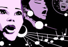 Singer Woman Music Jazz Blues Comics Cartoon Royalty Free Stock Photography