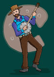 Music series- man playing banjo vector illustration