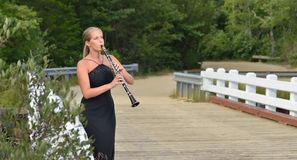 Music Series - outdoor clarinet player Stock Images