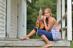 Music Series - outdoor violin or fiddle player Stock Photo