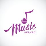 Music served vector concept icon with hand. Lettering isolated Royalty Free Stock Images