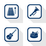 Music set flat icon Royalty Free Stock Photography