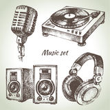 Music set. Hand drawn illustrations of Dj icons Stock Photography