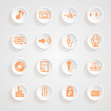 Music  set   Icons button shadows   set Royalty Free Stock Photography