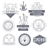 Music set label template of emblem element for Stock Photo