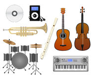 Music set. Set of musical instruments - guitar, violin, electric piano, flute, drums, trumpet and CD and mp3 player. Eps format is available. (If you need only Stock Image