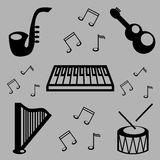 Music. A set of musical instruments and notes stock illustration