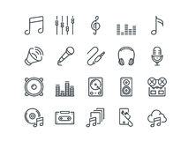 Music. Set of outline vector icons. Includes such as Headphone, Mixer, Cassette and other. Editable Stroke. 48x48 Pixel Stock Image