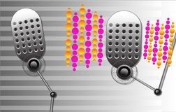 Music set of two retro microphones Stock Images