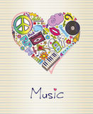 Music in shape of heart Stock Photos
