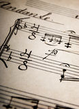 Music Sheet. Closeup of handwritten music sheets on an old paper Royalty Free Stock Image