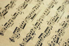 Music sheet. An old music sheet - focus on foreground Royalty Free Stock Photography