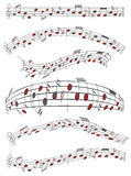 Music sheet. Illustration of music sheet, red Royalty Free Stock Images
