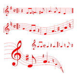 Music sheet. Red music on the red background Royalty Free Stock Images
