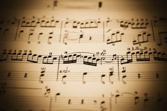 Music sheet. Close-up of an old music sheet, very shallow DOF Royalty Free Stock Photography