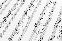 Music Sheet. Close up of music sheets for pedal harp stock photography
