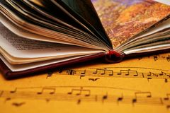 Music sheet and book stock image