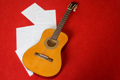 Music sheet with guitar Royalty Free Stock Photography