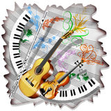 Music Sheet and Instruments Stock Image