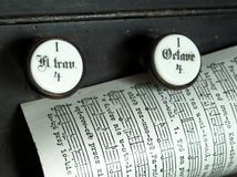 Music sheet page on the top of a church organ Royalty Free Stock Photography