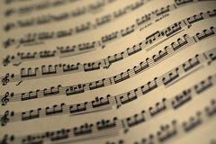 Music sheet, sepia color tone Stock Photography