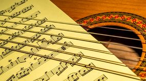 Music sheet between strings and sound hole of a acoustic guitar. royalty free stock photos