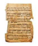 Music sheet. Vintage music sheet isolated on white background Royalty Free Stock Photo