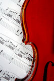 Music sheet and violin. Violin on the music sheet Royalty Free Stock Image