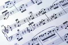 Music sheet on the white background. A music sheet on the white background Royalty Free Stock Photos