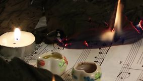Music Sheets Burning stock footage