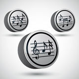 Music sheets with g key and notes vector icons set . Stock Images