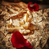 Music sheets with rose petals Stock Images