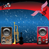 Music shop. Abstract colorful illustration with loudspeakers, violin and trumpet in front of a grunge blue background. Music shop royalty free illustration