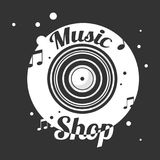 Music shop black and white emblem with old vinyl record. And notes around vector illustration. Store with musical compositions from all epochs on all kinds of vector illustration