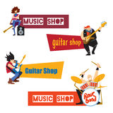 Music shop concept with musicians. Music shop, guitar shop, concept with musicians isolated vector illustration. Guitarist, drummer and bassist characters with Stock Photos