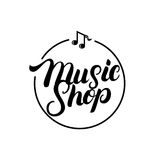 Music Shop hand written lettering logo, label, badge, emblem. Isolated on white background. Modern brush calligraphy. Vector illustration stock illustration