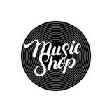 Music Shop hand written lettering logo, label, badge, emblem. Stock Photos