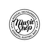Music Shop hand written lettering logo, label, badge, emblem. Royalty Free Stock Images