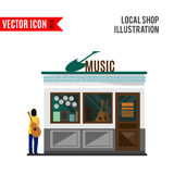 Music shop icon isolated on white background. Vector illustration Royalty Free Stock Photos