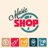 Music shop logo. Emblem or logotype elements for music shop, guitar shop royalty free illustration