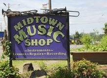 Music Shop  in Midtown Memphis, TN Royalty Free Stock Photo