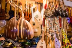 A music shop in the old medina medina of Rabat in Morocco stock photo