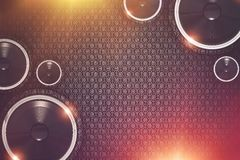 Music Show Background. Illustration. Colorful Music Background with Large Bass Speakers and Glowing Lights Stock Photo