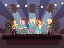 Music show with kids band playing rock on stage cartoon vector illustration. Music rock concert, musician kids with guitar performance Royalty Free Stock Photo