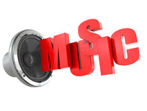 Music sign. 3d illustration of audio speaker with music sign, over white background Stock Image