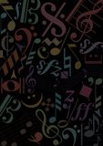 Music signs on black backgroun Stock Photography