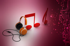 Music signs with head phone Royalty Free Stock Image