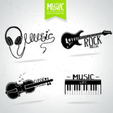 Music silhouette set Stock Photo