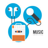 Music. Simple flat icons of music equipment, player, headphones, microphone Vector Illustration